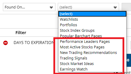 New Options Screeners filters for popular stock pages